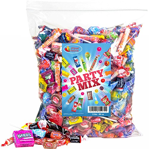 Assorted Candy Party Mix, 5 LB Bulk Bag: OVER 275 Pieces - Fire Balls, Airheads, Jawbusters, Laffy Taffys, Tootsie Rolls and Much More of Your Favorite Candy!