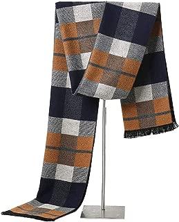 LALIFIT Men's Winter Cashmere Scarf Plaid Stripes Warm Soft Scarves with Tassel