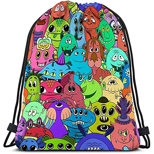 Dingjiakemao Trekkoord Opslag, Trekkoord Tas Voor Meisjes Of Mannen Winkelen, Sport, Gym,Yoga,School Cartoon Monsters Uw Verschillende Cartoon Tegel Patroon Leuke Hipster