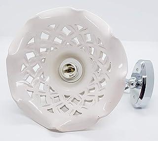 Applique Lampadario 20 centimetri diametro Traforato BiancoCeramica + Braccetto in Acciaio Bronzato e Parti elettriche Le ...