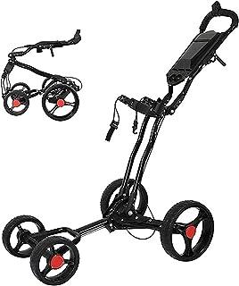 Golf Push Cart Foldable Golf 4 Wheel, Collapsible Push Bag Cart,Golf Pull Cart with Umbrella Holder and Hand Brake