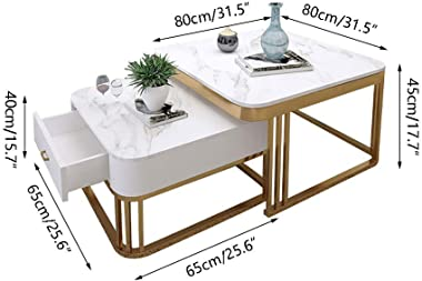Nesting Coffees End Tables Side Table, Marble Table Top Sofa Table Square Cocktail Table, with Metal Frame and Storage Drawer, for Home Living Room and Office