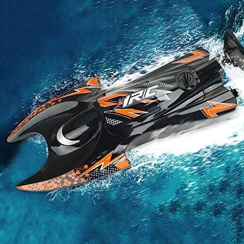 Moerc Barco de control remoto, barco de carreras de alta velocidad de 2.4 GHz con motores duales para la duración de la batería de larga duración Radio recargable RC Electric RC Boat Modelo de juguete