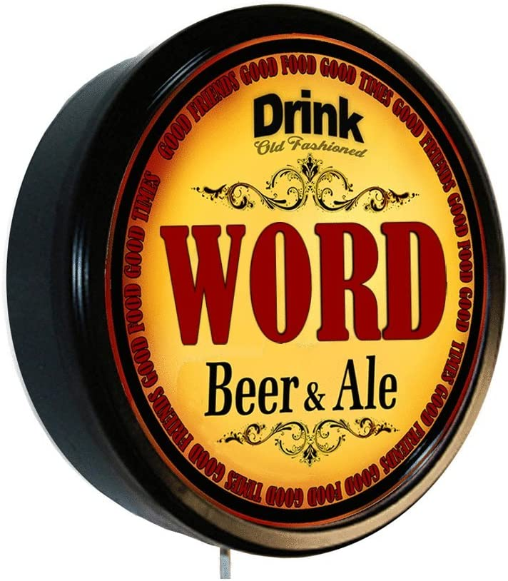 WORD Beer OFFicial quality assurance and Ale Cerveza Wall Lighted Sign
