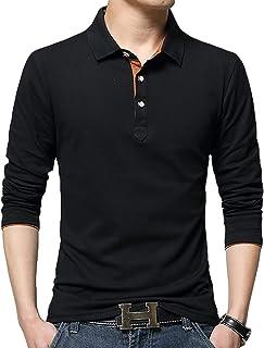[ガナタ] アクセントカラー ポロシャツ シンプル ベーシック デザイン 長袖 無地 軽量 ロング Tシャツ メンズ