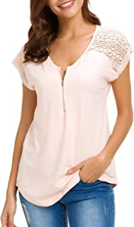 Women Lace Shirt Plain Casual Short Sleeve White Zip Up V Neck Cotton