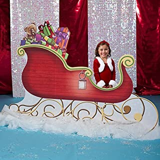 Santa Sleigh Christmas Standee Standup Photo Booth Prop Background Backdrop Party Decoration Decor Scene Setter Cardboard Cutout