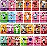 26 Piezas Mini Tarjetas NFC para Animal Crossing New Horizons Series 1-4 para Switch / Switch Lite / Wii U / New 3DS con Estuche para Tarjetas