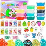 Crystal Slime Kit for Girls Boys,12 Pack Colorful Transparent Slime and12 Slime Charms 12 Sprinkles,Cute Soft and Non-Stick,Nice Gift for Birthday Valentine's Day Slime Toy