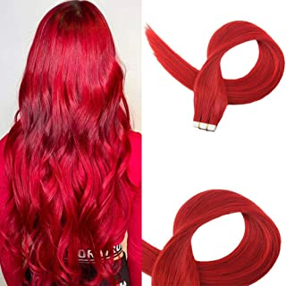 Easyouth Tape Hair Extensions 14 Inch 50g 20Pcs Per Package Color Red Glue In Red Hair Extensions Tape In Human Hair Extensions