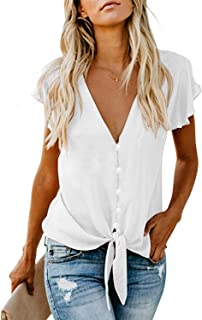 lili's story Women Tie Front Tops V Neck Button Down Flutter Short Sleeve Chiffon Loose Summer Blouse Crop Top