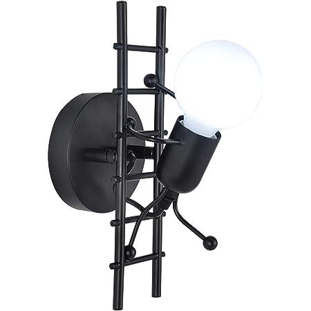 Humanoïde Applique Murale Interieur E27 Moderne Applique Murale Industrielle Lampe Murale de Style Simple pour le Salon Couloir Chambre à Coucher 220V Ampoule Non incluse (Noir)