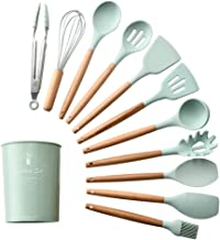 12PCS Kitchen Utensil Set Silicone Cooking Utensils Kit Spatula Heat Resistant Wooden Spoons Gadgets Tool for Non-Stick Co...