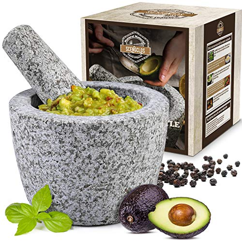 Mortar and Pestle Set with Longer Pestle(6.25'') and Anti-scratch Pad, Granite Unpolished Molcajete, Spices Grinder for Guacamole, Herb, Spices, Pastes, Salads