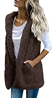 Womens Puffer Vest Winter Warm Plush Hoodie Outwear Casual Coat Faux Fur Zip Up Sherpa