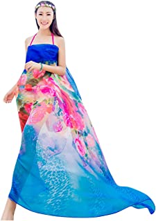 GERINLY Beach Shawls Blooming Rosa Print Sarongs Chiffon Shawl Wrap