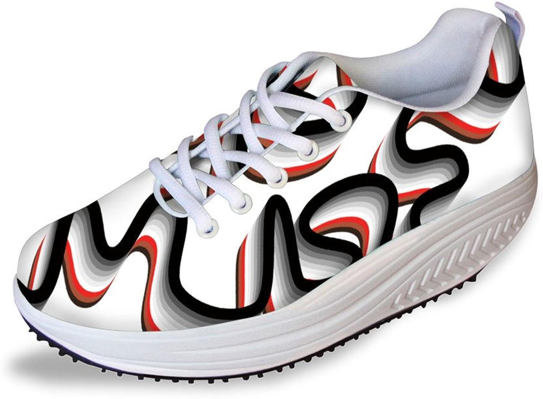 NAYINLAN Women 3D Ribbon Print Wedge shoes Breathable Lightweight Walking Sneakers