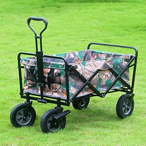 XYYZX Bollerwagen faltbar mit Reifen für Vatertag, einkaufen, klappbar, Transportwagen ohne Dach mit Abdeckhaube, verstärkter Achse und Gestell - Tragkraft: 80KG,Forestcamouflage