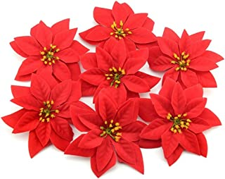 Azude Artificial Red Poinsettia Flowers for Vintage Christmas Tree Decorations, 12pcs
