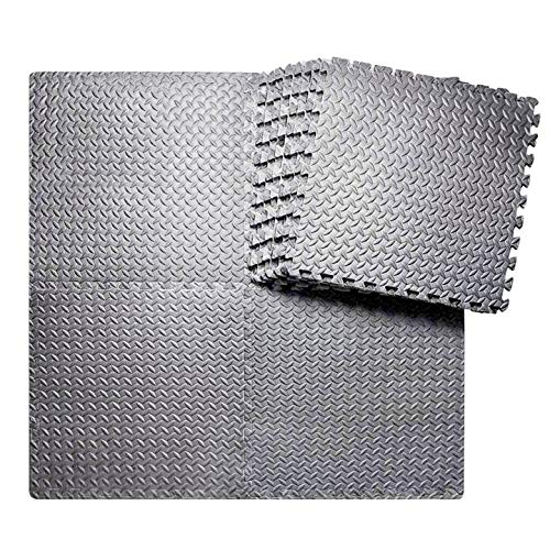 BEAUTYOVO Puzzle Exercise Mat with 12/24 Tiles Interlocking Foam Gym Mats, 24'' x 24'' EVA Foam Floor Tiles, Protective Flooring Mats Interlocking for Gym Equipment (48 Sq.Ft/12 Tiles - All-Gray)