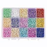 PandaHall 6750pcs 15 Color 8/0 Glass Seed Beads 3mm Mini Beads con caja de contenedor para hacer joyas