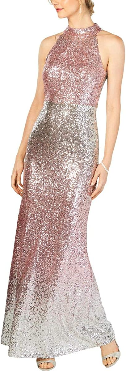 Vince Camuto Women's Halter-Top Ombre Sequin Gown (12, Blush Ombre)