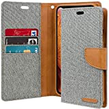 Goospery Canvas Wallet for Apple iPhone Xs Case (2018) iPhone X Case (2017) Denim Stand Flip Cover (Gray) IPX-CAN-Gry