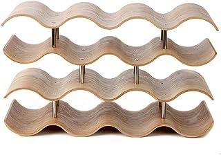 Estante para Botellas de Vino Almacén de vino de madera de estante de mesa de madera de soda de mostrador de 4 niveles con...
