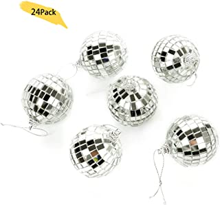 Alapaste 24 Pack Bright Reflective Mirror Disco Ball Christmas Tree Hanging Balls Ornaments Pendants for Holiday Wedding Party Dance and Music Festivals Decoration