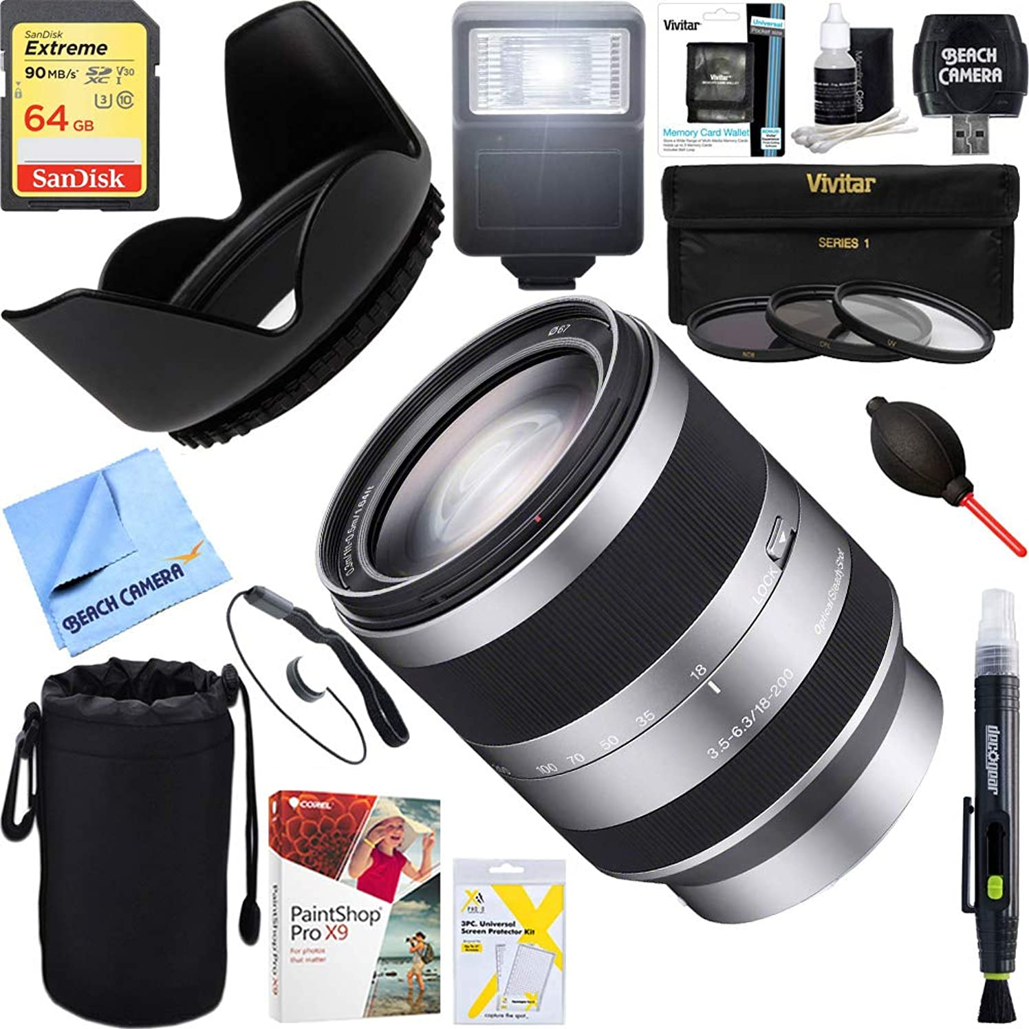 Sony (SEL18200 18-200mm F3.5-6.3 OSS Alpha E-Mount Interchangeable Lens + 64GB Ultimate Filter & Flash Photography Bundle