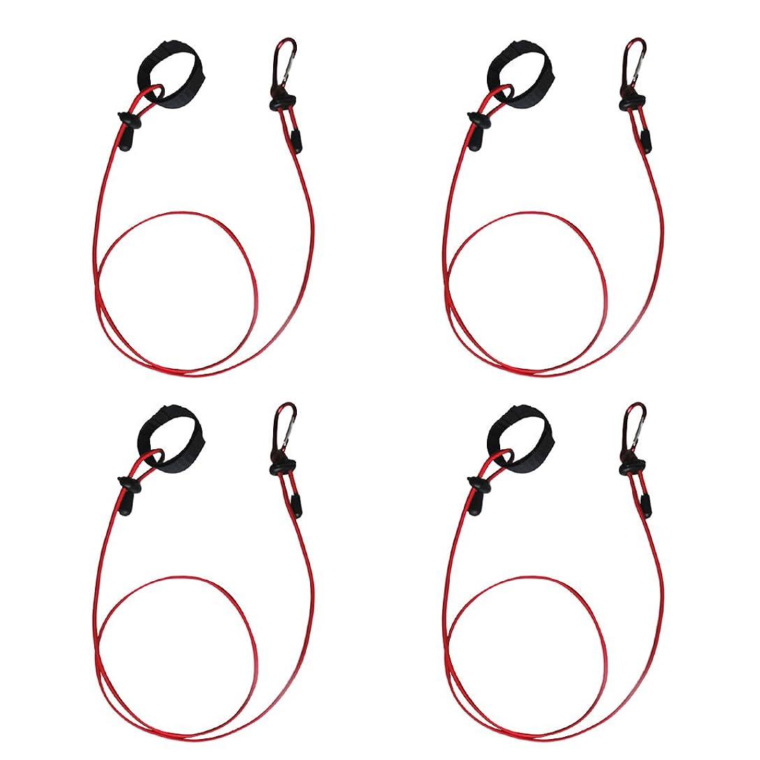 さておき放つリア王ノーブランド品  全5色 4個入り カヤック パドルリーシュ 釣り竿ホルダー 安全ストラップ リーシュコード - レッド