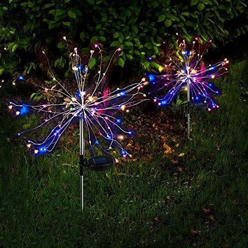 2 x Solarlampe für Garten Mehrfarbig LED Feuerwerk lichterkette Außen Stecker Solarleuchten mit Funkeln und Dauerlicht 2 Beleuchtungsmodi für Garten, Balkon und Terrasse [Energieklasse A++]
