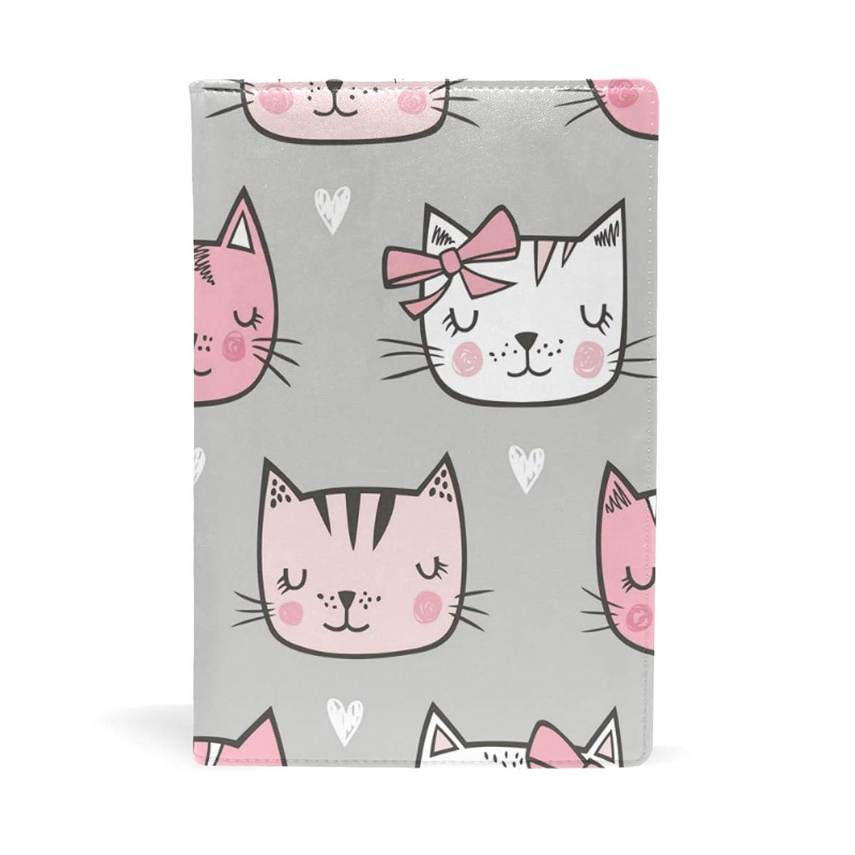 独特の認可まだら可愛い猫 ピンク ハート ブックカバー 文庫 a5 皮革 おしゃれ 文庫本カバー 資料 収納入れ オフィス用品 読書 雑貨 プレゼント耐久性に優れ