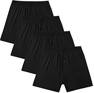 Innersy Men's 4-Pack Button Fly Closure Black 100% Cotton Knit Boxer Shorts Underwear