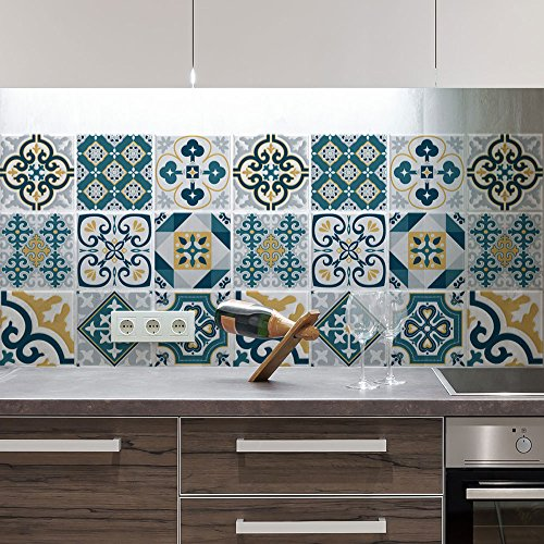 24 (Piezas) Adhesivo para Azulejos 20x20 cm - PS00105 - Funchal - Adhesivo Decorativo para Azulejos para baño y Cocina - Stickers Azulejos - Collage de Azulejos