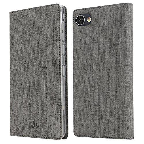 Slimicoo BlackBerry Motion Leder Tasche Flip Handyhülle Hülle Standfunktion Kartenfach Magnetverschluß Card Holder kristallklarer TPU Stoßstange Wallet Schutzhülle für BlackBerry Motion(Gray)