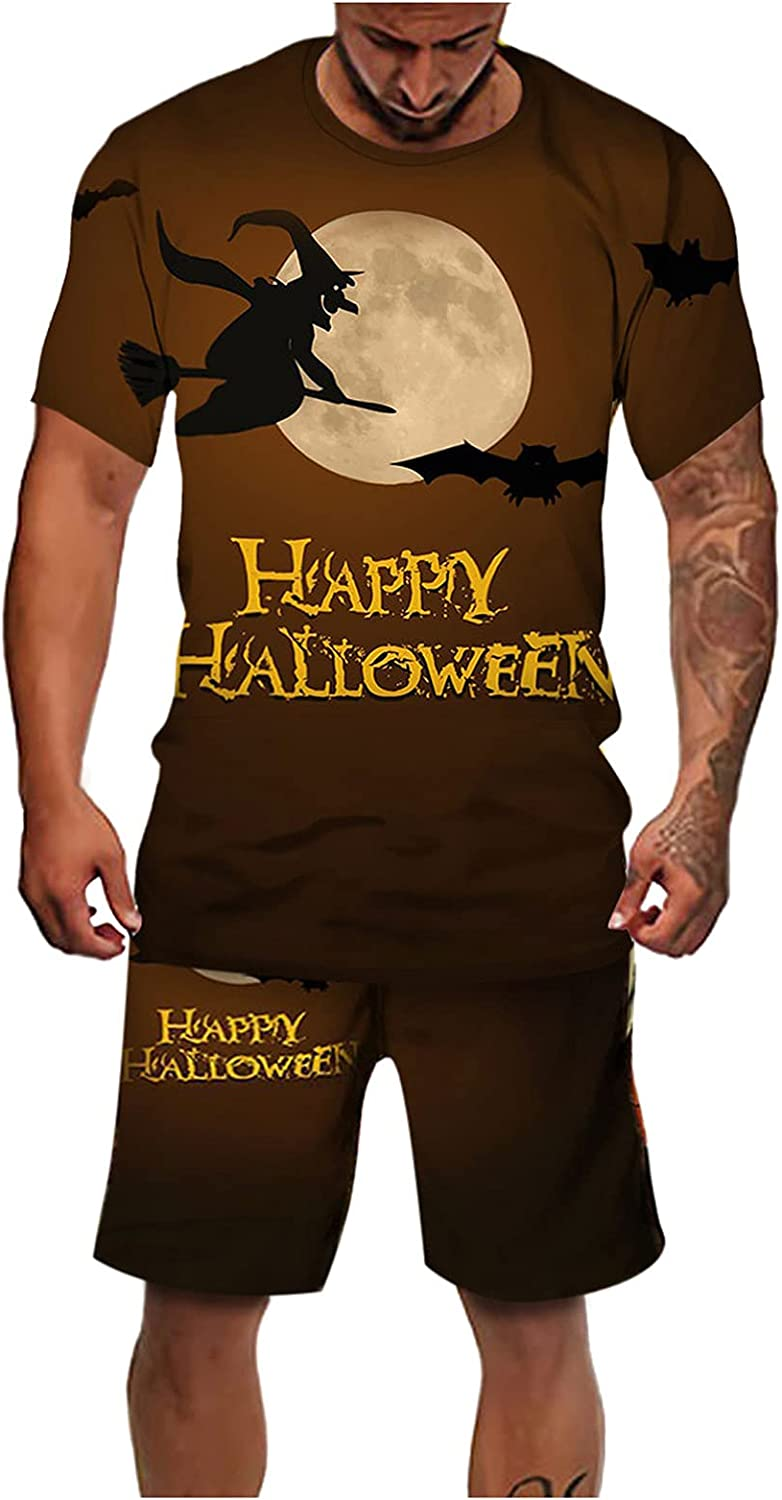 FORUU Halloween Two Piece Outfits 2021 Men's Sport Set T Shirt and Shorts Set 3D Printing Halloween Short Sleeved Suit