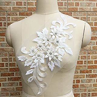 Exquisite 3D Flower Applique,Beaded,Sequined,Floral Patches Wedding Lace Appliques Motif Sew on Dress Polychromatic Option Golden/Pink/Red/Gray/Violet/Green/White/Wine red Color