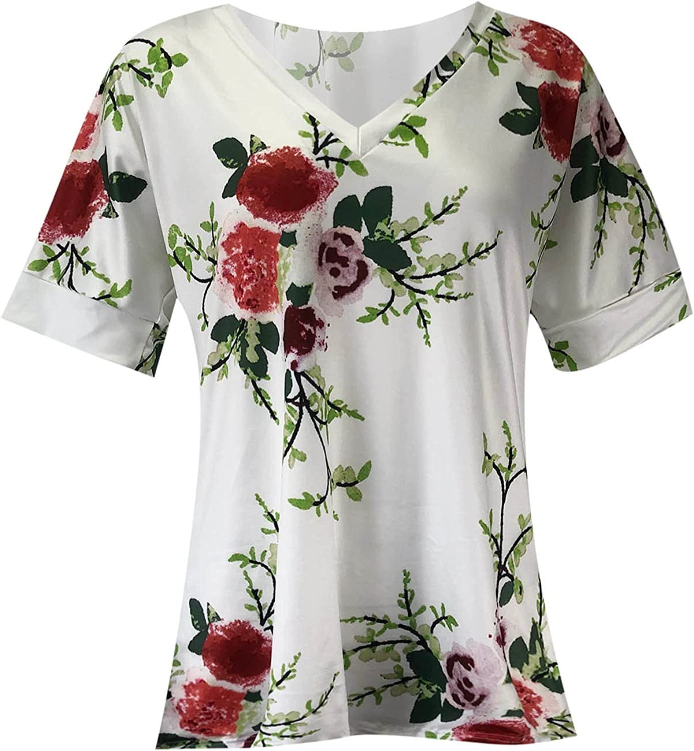 Womens Tshirts,Summer Tops for Women Tie Dye Loose T-Shirts V Neck Tees Short Sleeve Blouses Casual Pullover Shirts