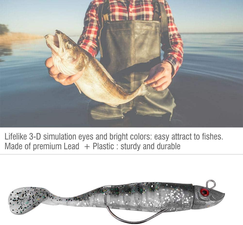 Alomejor Soft Lure Jig Lead Head Suave Cebo de Pesca Artificial en Tierra y se/ñuelos para embarcaciones de Agua Salada y de Agua Dulce