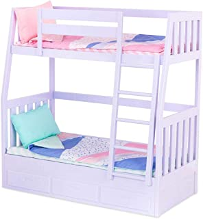 Our Generation 70.37882Z Bunk Bed Toy Home Accessories Set, Lilac, for A 18 inch / 46 cm Doll