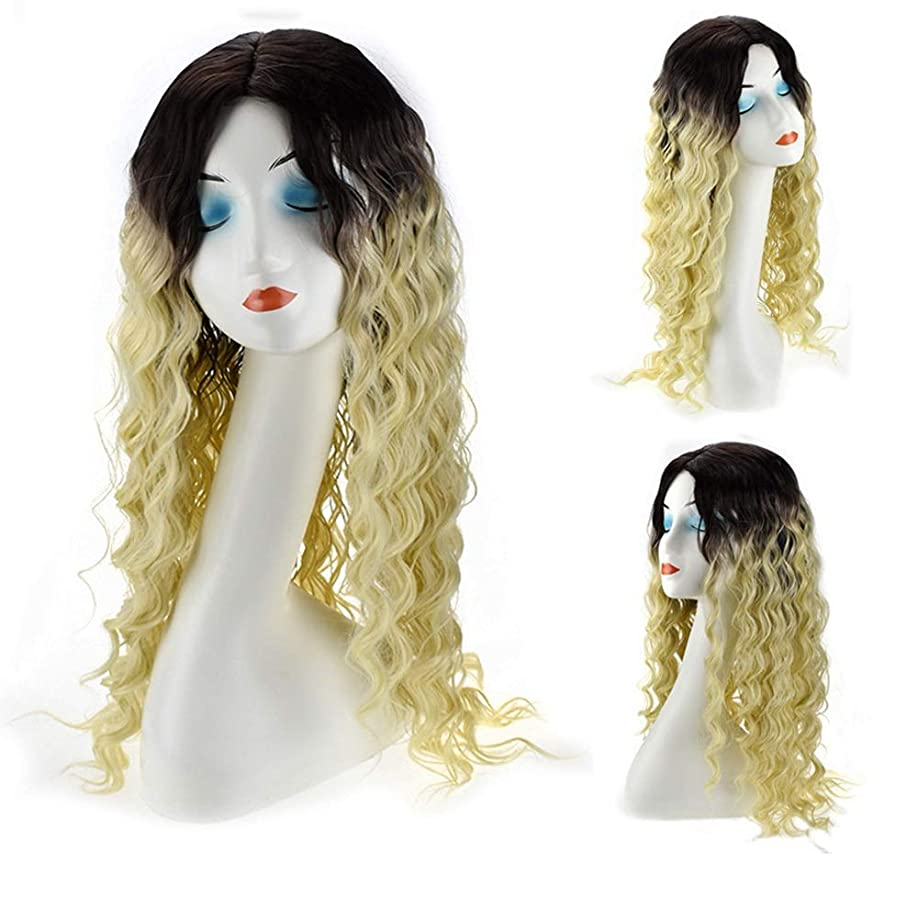 繰り返した敬礼補充YESONEEP ブロンドの深い波長い髪のグラデーションカラーの女性長い巻き毛のかつら耐熱ファイバーパーティーかつら (色 : Blonde)