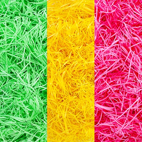 Qpout 300 Gramm Osterkorb geschreddertes Gewebe, gelb rosa grün Osterkorb Füllung Gras Papier Raffia, Ostern Party Korb Eier Geschenk Dekoration Füllung
