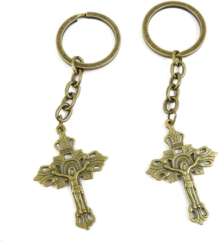 80 PCS Keyring Car Door Key Ring Tag Chain Keychain Wholesale Suppliers Charms Handmade M1EQ1 Inri Jesus Cross