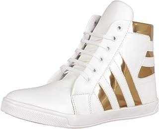 Shoe Island ® Popular Icon-X ™ Designer Leatherette High Ankle Length Velcro White Shinning Gold Black Casual Dance Sneake...