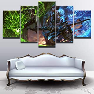 LIUZYU 5 Piece Canvas Paintings Posters & Prints Wall Art Giclee Wall Art Pictures Modern Home Decor Living Room Overwatch Genji and Hanzo Poster Game Painting Canvas Hd Print-A2 with Frame