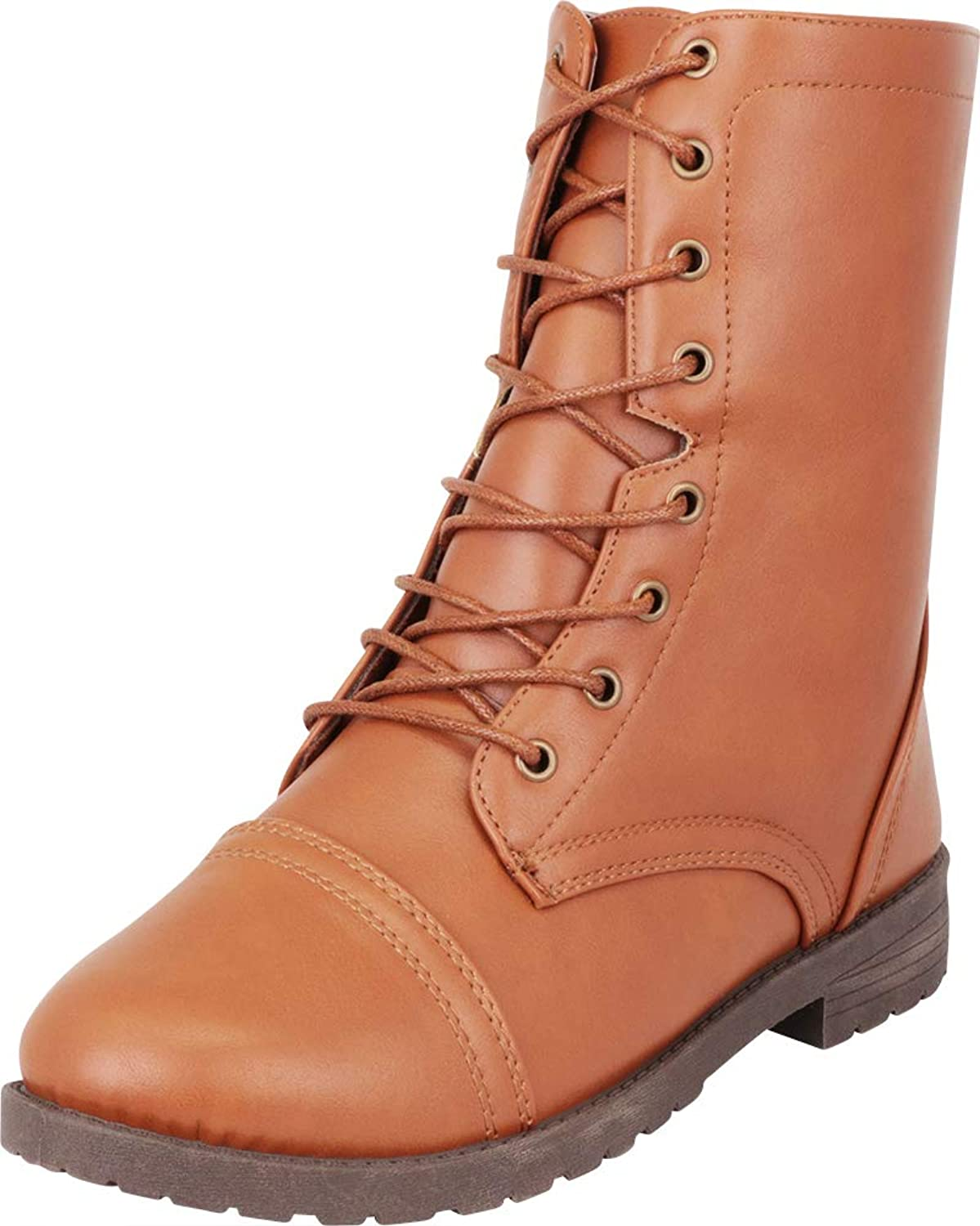 Cambridge Select Women's Round Toe Lace-Up Chunky Low Heel Mid-Calf Combat Boot