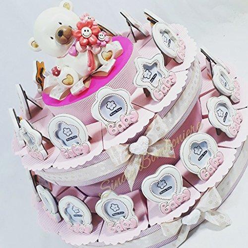 Torta Porta Confetti Cornice portafoto per bomboniere Battesimo Femminuccia (Torta 28 fette)