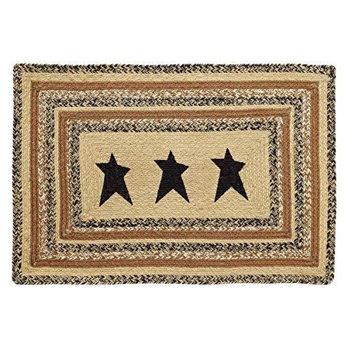 VHC Brands Kettle Grove Jute Stencil Star Rectangular Rug 24x36 Country Braided Flooring, Caramel Brown