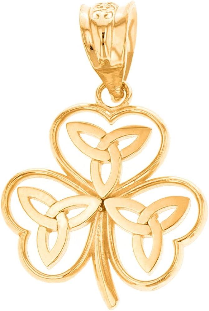 Elegant 14k Yellow Gold Irish Shamrock Pendant with Celtic Trinity Knot